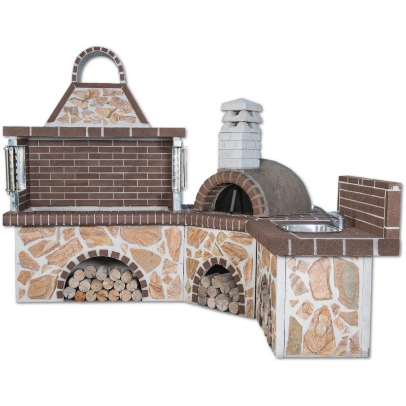 Sxistolithos set BBQ pizzaoven gootsteen (hoek)