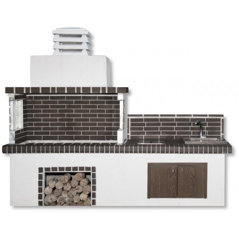 Buitenkeuken set BBQ, kookplaat en gootsteen (vierkant) - Grey Firebrick