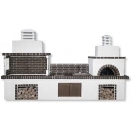 Buitenkeuken set BBQ, kookplaat, gootsteen en pizzaoven (vierkant) - Grey Firebrick