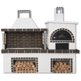 Buitenkeuken set BBQ en houtoven (vierkant) - Grey Firebrick