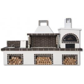 Buitenkeuken set BBQ, kookplaat, gootsteen en houtoven (vierkant) - Grey Firebrick