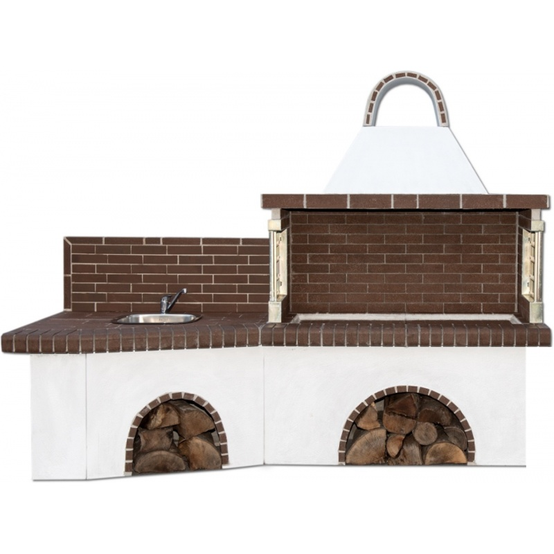 Buitenkeuken set BBQ en gootsteen - Brown Firebrick
