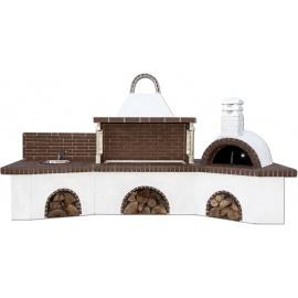 Buitenkeuken set BBQ, gootsteen en pizzaoven - Brown Firebrick