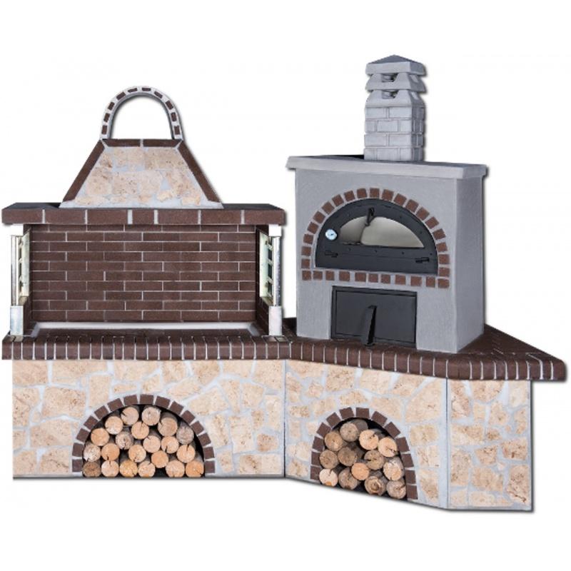 Buitenkeuken set BBQ, gootsteen en houtoven - Limestone