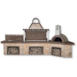 Buitenkeuken set BBQ, pizzaoven, gootsteen en kookplaat (vierkant) - Porolithos