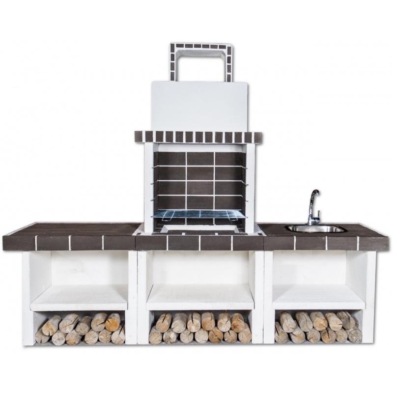 Buitenkeuken set 4-grill BBQ, gootsteen en aanrecht (modern) - Grey Firebrick