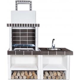 Buitenkeuken set BBQ en gootsteen (modern) - Grey Firebrick