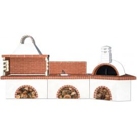 Buitenkeuken set BBQ, gootsteen en pizzaoven - Red Firebrick