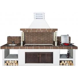 Buitenkeuken set BBQ, gootsteen en gasstel (modern) - Brown Firebrick