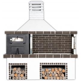 Buitenkeuken set BBQ en houtoven 2 in 1 (vierkant) - Grey Firebrick