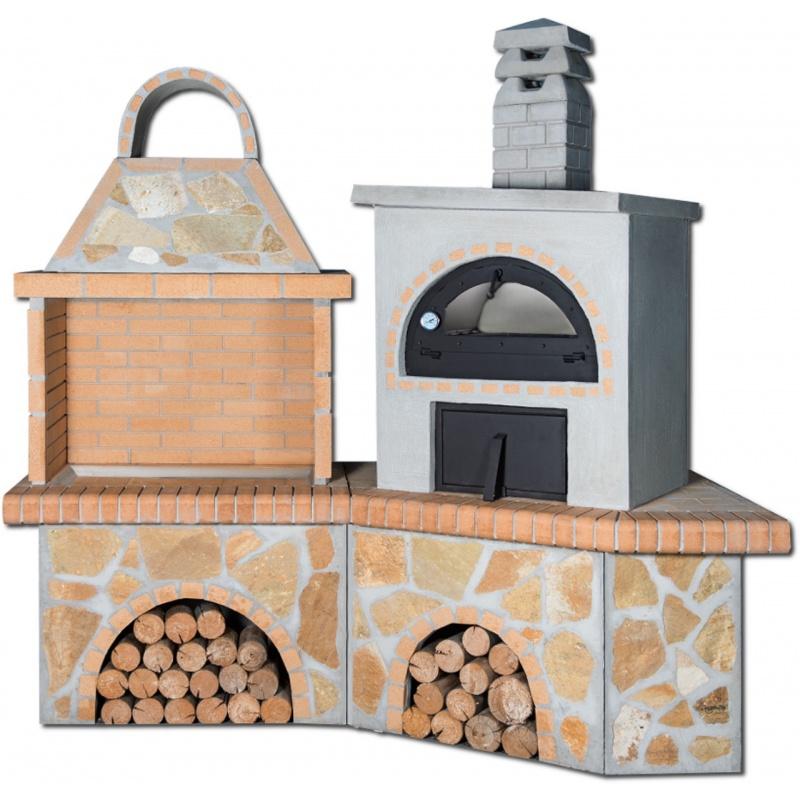 Buitenkeuken set BBQ en houtoven (mini) - Limestone