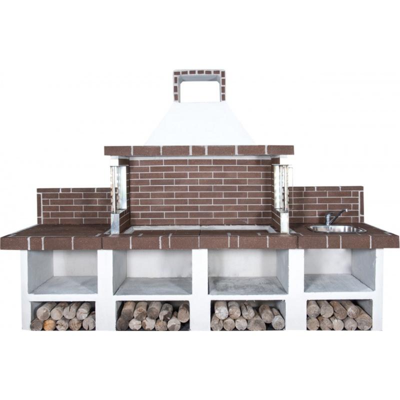 Buitenkeuken set BBQ, gootsteen en aanrecht (modern) - Grey Firebrick