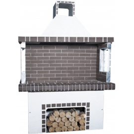 Stenen barbecue Black-Grey Brick - Wit